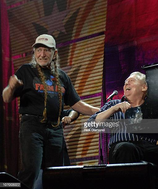 Willie Nelson and Jerry Lee Lewis during Farm Aid 2006 Presented by Silk Soymilk Concert at Tweeter Center at the Waterfront in Camden New Jersey...