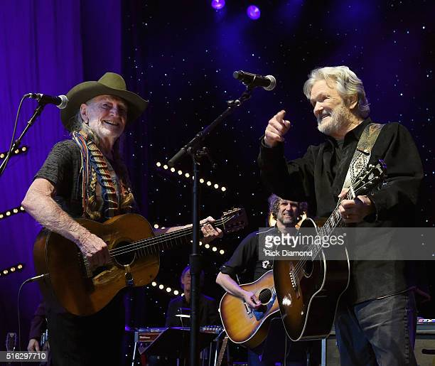 Willie Nelson and Kris Kristofferson perform at The Life Songs of Kris Kristofferson produced by Blackbird Presents at Bridgestone Arena on March 16...