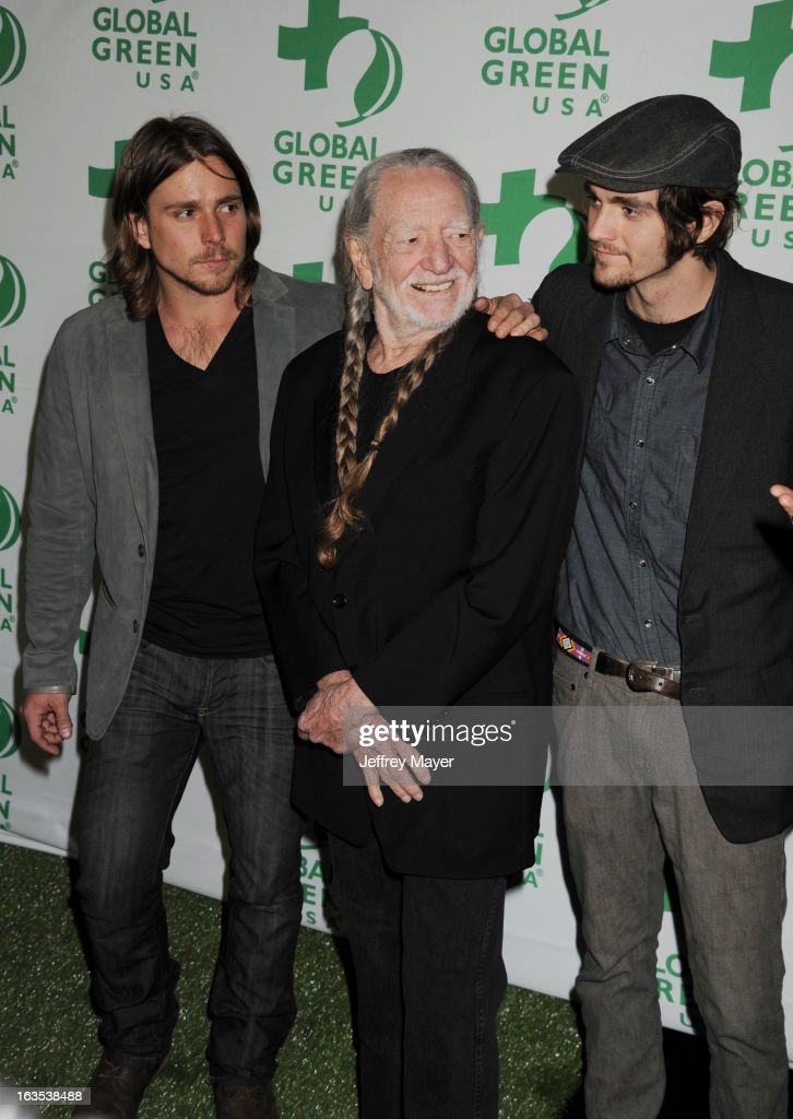 Willie Nelson and Lucas Autry Nelson and Jacob Micah Nelson arrive at Global Green USA's 10th Annual PreOscar party at Avalon on February 20 2013 in...