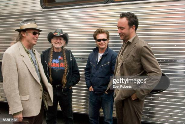 AID Photo of Willie NELSON and Neil YOUNG and John MELLENCAMP and Dave MATTHEWS LR Neil Young Willie Nelson John Mellancamp and Dave Matthews...