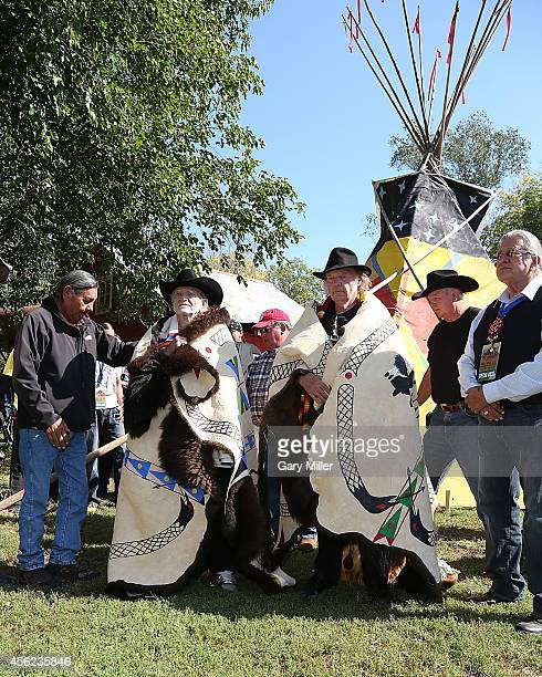 Willie Nelson and Neil Young are honored during a ceremony where they were presented with decorated buffalo hides before the Harvest The Hope Concert...