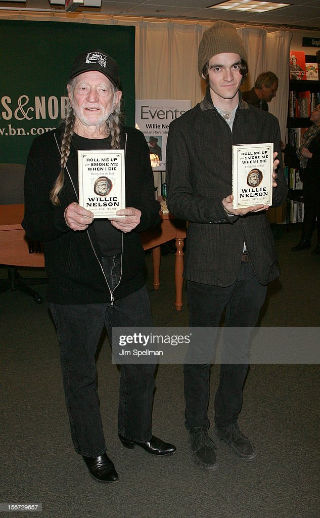 Willie Nelson and son Jacob Micah Nelson promote 'Roll Me Up and Smoke Me When I Die: Musings from the Road' at Barnes & Noble, 5th Avenue on November 19, 2012 in New York City.
