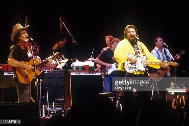 Willie Nelson and Waylon Jennings performing with 'The Highwaymen' at Arco Arena Sacramento California on January1 1987