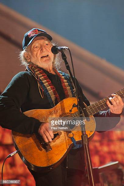 Willie Nelson performing at Farm Aid at the First Merit Bank Pavillion at Northerly Island on September 19th 2015 in Chicago Illinois