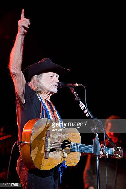 Willie Nelson performing live at the Hammersmith Apollo London with 'Trigger' his trusty Martin N20 guitar
