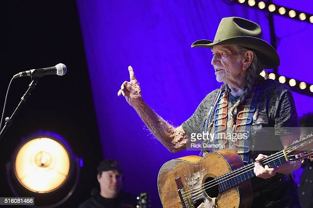 Willie Nelson performs at The Life Songs of Kris Kristofferson produced by Blackbird Presents at Bridgestone Arena on March 16 2016 in Nashville...