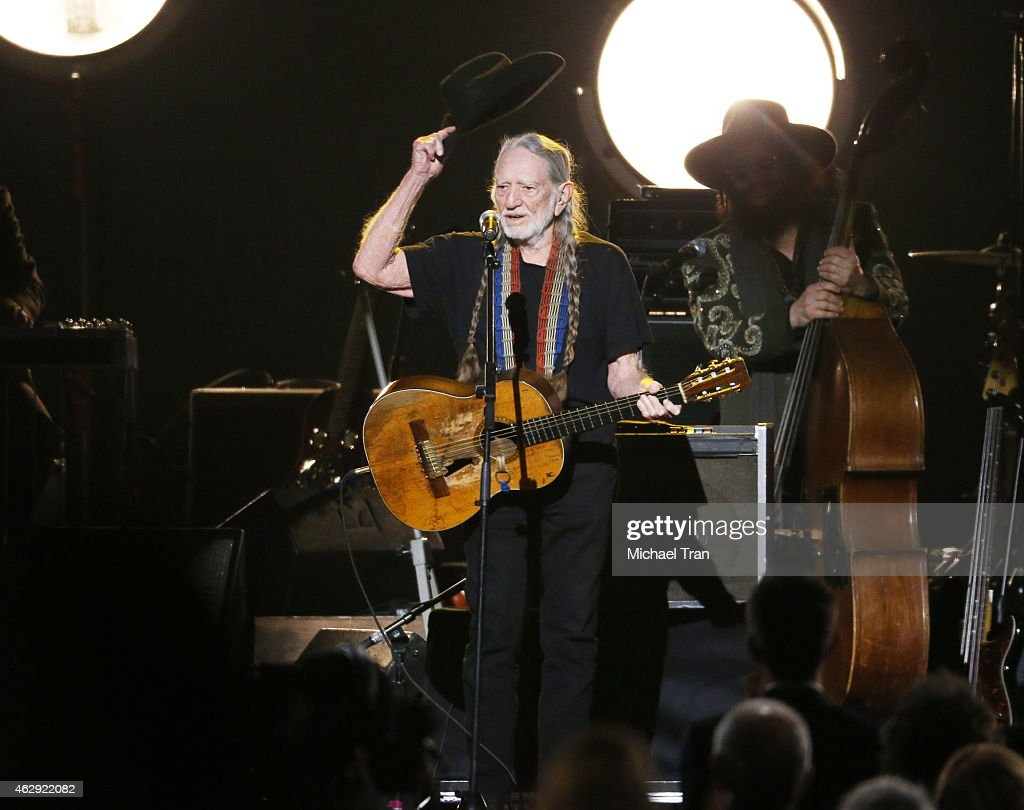 Willie Nelson performs onstage during the 2015 MusiCares Person of The Year honoring Bob Dylan held at Los Angeles Convention Center on February 6, 2015 in Los Angeles, California.