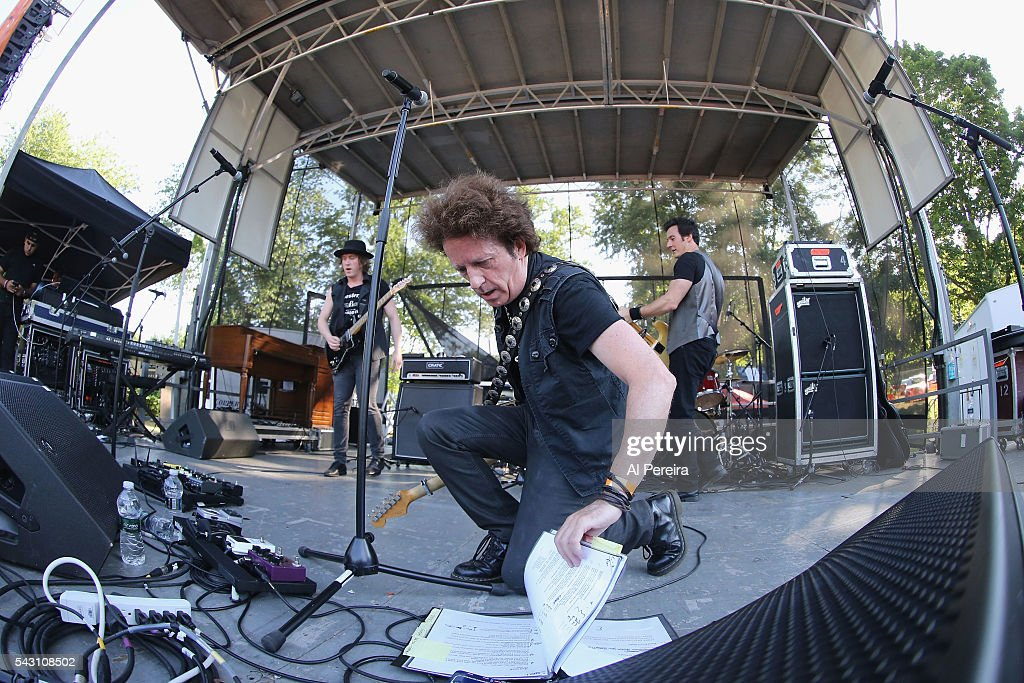 <a gi-track='captionPersonalityLinkClicked' href=/galleries/search?phrase=Willie+Nile&family=editorial&specificpeople=5801186 ng-click='$event.stopPropagation()'>Willie Nile</a> checks his notebook when he peforms at Day One of the Rockland-Bergen Music Festival at German Masonic Park on June 25, 2016 in Tappan, New York.