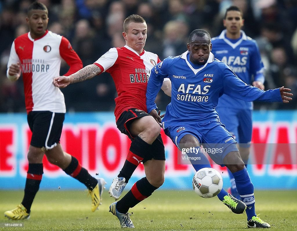Willie Overtoom (R), Jordy Clasie (C) during the Dutch Eredivisie match between Feyenoord and AZ Alkmaar at stadium De Kuip on february 10, 2013 in Rotterdam, The Netherlands