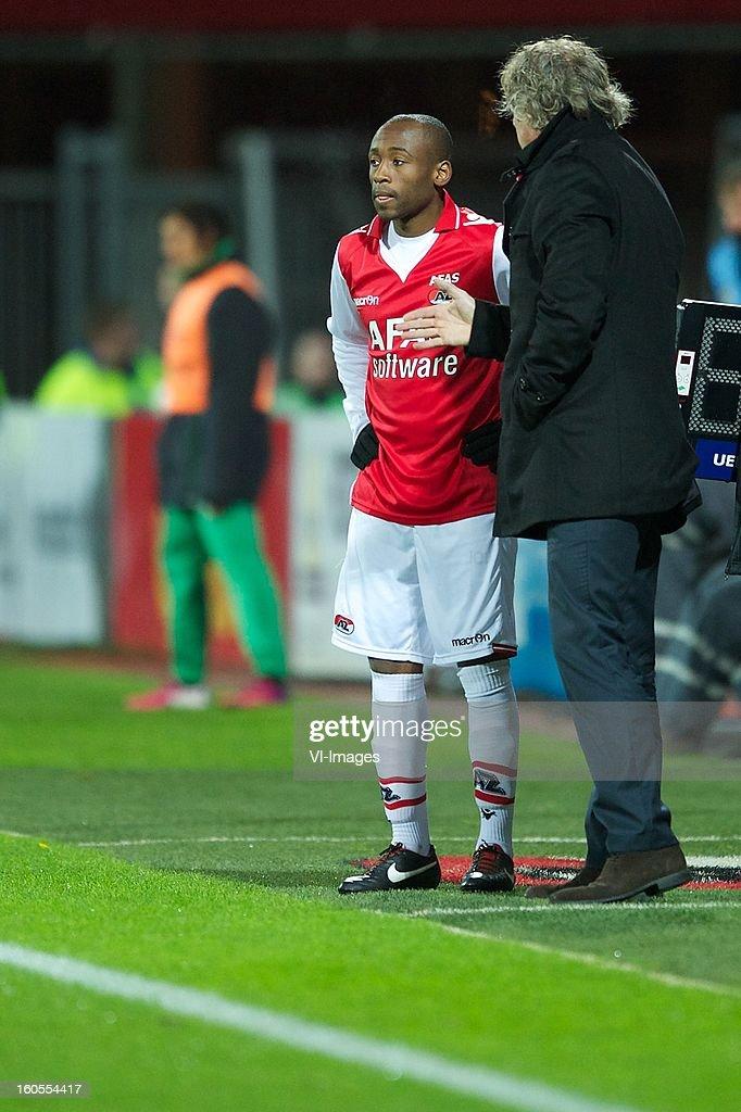 Willie Overtoom of AZ, coach Gert Jan Verbeek of AZ during the Dutch Eredivisie match between AZ Alkmaar and FC Groningen at the AFAS Stadium on february 2, 2013 in Alkmaar, The Netherlands
