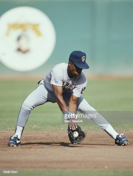 Willie Randolph second baseman for the Milwaukee Brewers collects the ball during the Major League Baseball American League West game against the...