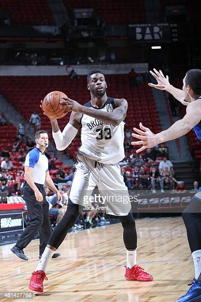 Willie Reed of the Brooklyn Nets handles the ball against the Philadelphia 76ers on July 15 2015 at the Thomas Mack Center in Las Vegas Nevada NOTE...