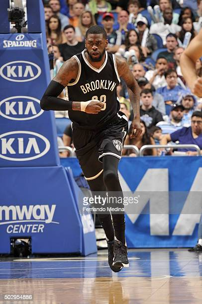 Willie Reed of the Brooklyn Nets runs up the court against the Orlando Magic during the game on December 30 2015 at Amway Center in Orlando Florida...