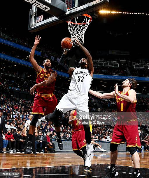 Willie Reed of the Brooklyn Nets shoots the ball against the Cleveland Cavaliers on January 20 2016 at Barclays Center in Brooklyn New York NOTE TO...