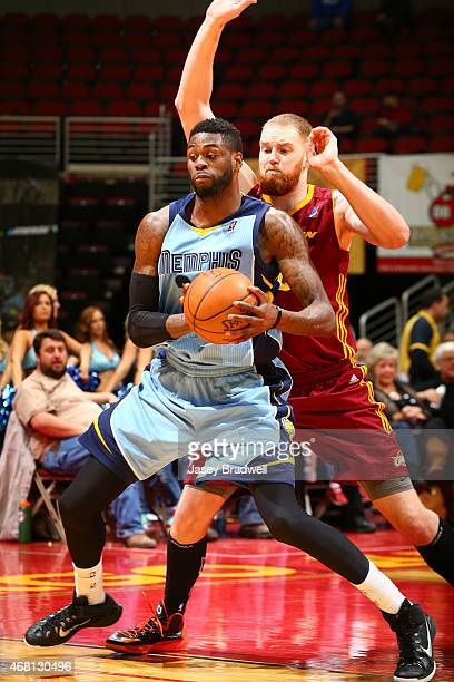 Willie Reed of the Iowa Energy posts up against Alex Kirk of the Canton Charge in an NBA DLeague game on March 28 2015 at the Wells Fargo Arena in...