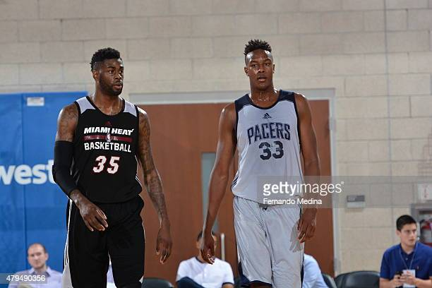 Willie Reed of the Miami Heat and Myles Turner of the Indiana Pacers during the game on July 4 2015 at Amway Center in Orlando Florida NOTE TO USER...