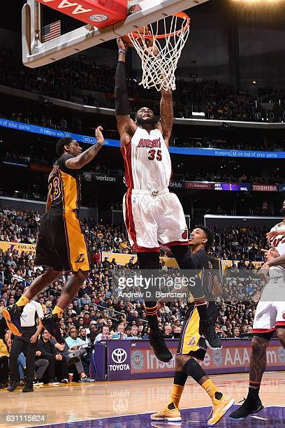 Willie Reed of the Miami Heat goes up for a dunk against the Los Angeles Lakers on January 6 2017 at STAPLES Center in Los Angeles California NOTE TO...