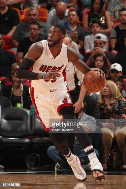 Willie Reed of the Miami Heat handles the ball against the Minnesota Timberwolves on March 17 2017 at American Airlines Arena in Miami Florida NOTE...