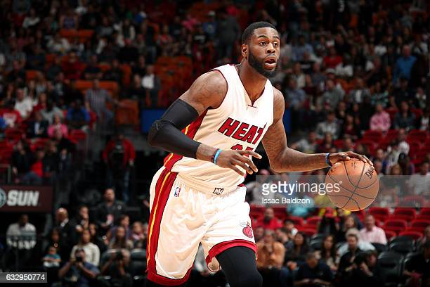 Willie Reed of the Miami Heat handles the ball during the game against the Detroit Pistons on January 28 2017 at AmericanAirlines Arena in Miami...