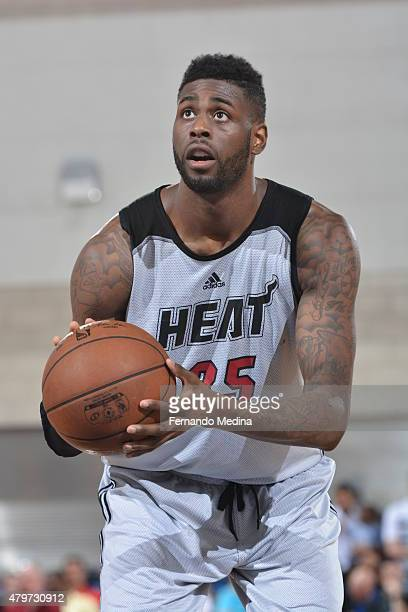 Willie Reed of the Miami Heat shoots a free throw against the Detroit Pistons during the 2015 Orlando Pro Summer League game on July 6 2015 at Amway...