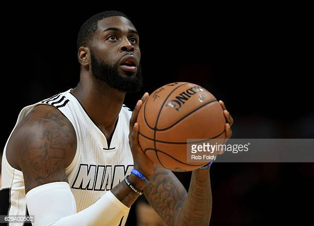 Willie Reed of the Miami Heat shoots during the first half of the game against the Washington Wizards at American Airlines Arena on December 12 2016...