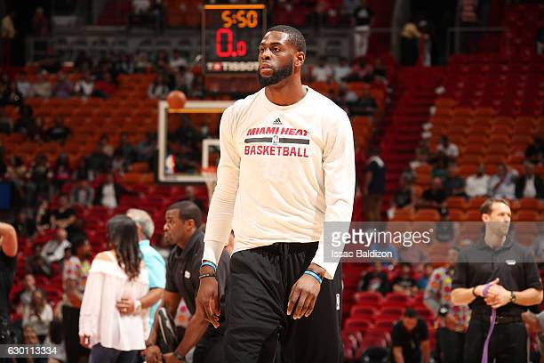 Willie Reed of the Miami Heat warms up before a game against the LA Clippers on December 16 2016 at American Airlines Arena in Miami Florida NOTE TO...