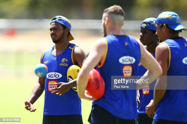 Willie Rioli of the Eagles looks on during a West Coast Eagles AFL training session at Lathlain Park on November 20 2017 in Perth Australia