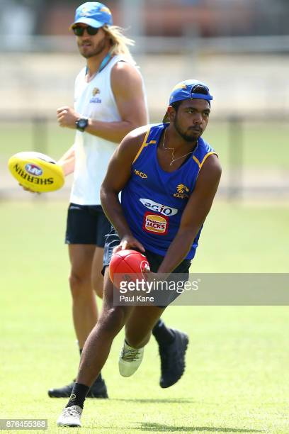 Willie Rioli of the Eagles looks to pass the ball during a West Coast Eagles AFL training session at Lathlain Park on November 20 2017 in Perth...