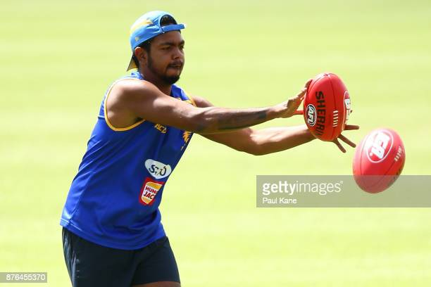 Willie Rioli of the Eagles works on a drill during a West Coast Eagles AFL training session at Lathlain Park on November 20 2017 in Perth Australia