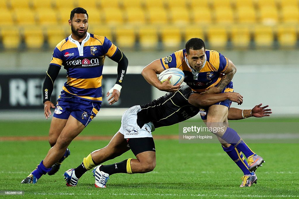 Willie Ripia of Bay of Plenty is tackled during the round 5 ITM Cup match between Wellington and the Bay of Plenty at Westpac Stadium on September 12, 2013 in Wellington, New Zealand.