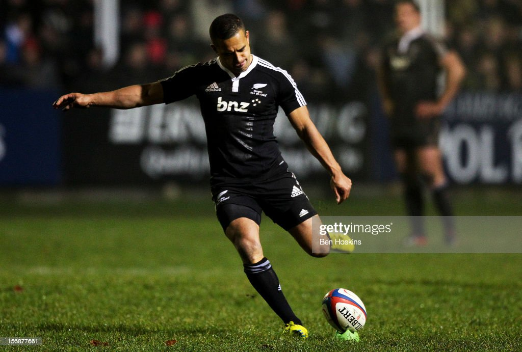 Willie Ripia of the Maori All Blacks kicks a penalty during a tour match between Canada and Maori All Blacks at Oxford University Rugby Club on November 23, 2012 in Oxford, England.