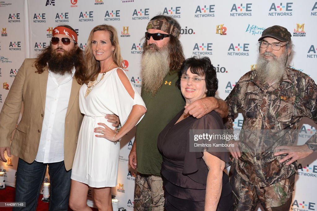 Willie Robertson, Korie Robertson, <a gi-track='captionPersonalityLinkClicked' href=/galleries/search?phrase=Phil+Robertson&family=editorial&specificpeople=4043277 ng-click='$event.stopPropagation()'>Phil Robertson</a>, Miss Kay Robertson and Si Robertson of Duck Dynasty attend the A+E Networks 2012 Upfront at Lincoln Center on May 9, 2012 in New York City.