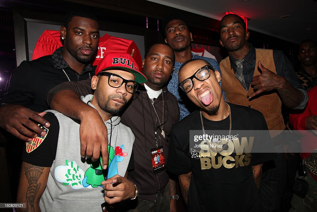 (L-R Willie Taylor, Bucks, Slow, guest, <a gi-track='captionPersonalityLinkClicked' href=/galleries/search?phrase=Bow+Wow&family=editorial&specificpeople=211211 ng-click='$event.stopPropagation()'>Bow Wow</a> and <a gi-track='captionPersonalityLinkClicked' href=/galleries/search?phrase=J.R.+Smith&family=editorial&specificpeople=201766 ng-click='$event.stopPropagation()'>J.R. Smith</a> attend the Premiere Of NBA 2K13 With Cover Athletes And NBA Superstars at 40 / 40 Club on September 26, 2012 in New York City.