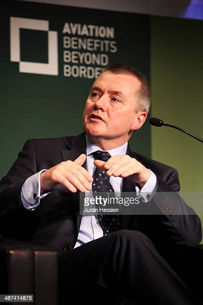 Willie Walsh Cheif Executive International Airlines Group speaks at the Global Sustainable Aviation Summit 2014 on April 29 2014 in Geneva...
