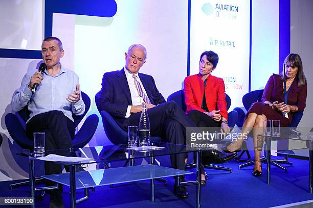 Willie Walsh chief executive officer of International Consolidated Airlines Group SA left speaks during a keynote panel discussion with Tim Clark...