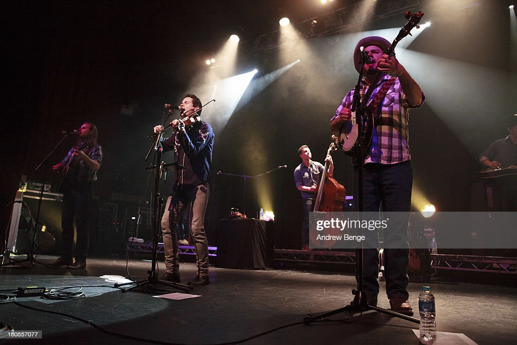 Willie Watson, Ketch Secor and Critter Faqua of Old Crow Medicine Show performs on stage at HMV Ritz on February 2, 2013 in Manchester, England.