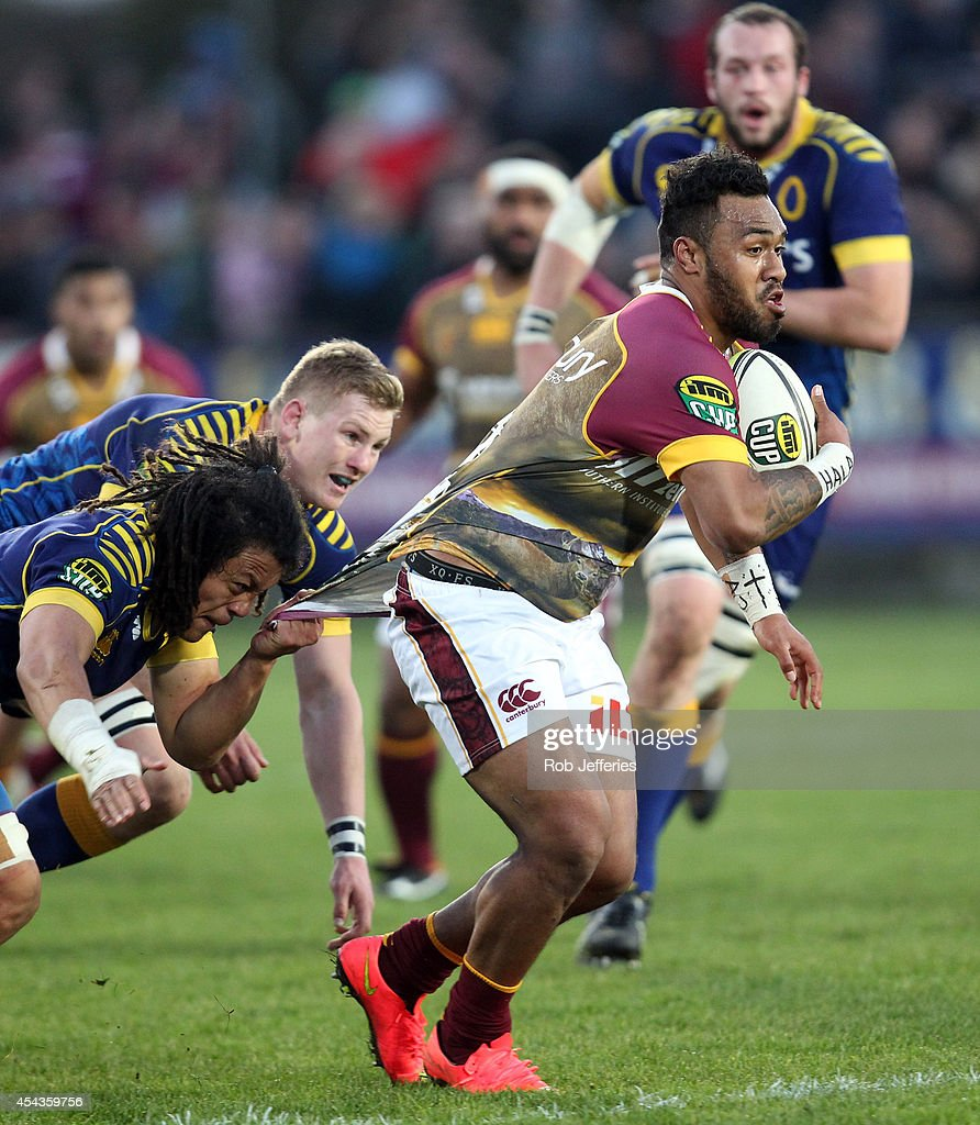 Willis Halaholo of Southland attempts to bust the Otago defence during the ITM Cup match between Southland and Otago on August 30, 2014 in Invercargill, New Zealand.