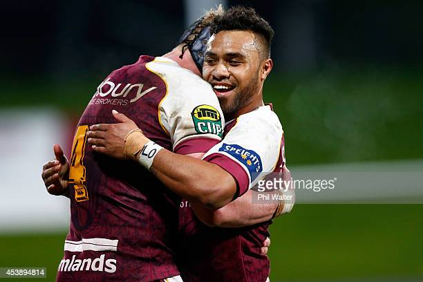 Willis Halaholo of Southland hugs Josh Bekhuis on full time during the round two ITM Cup match between North Harbour and Southland at QBE Stadium on...