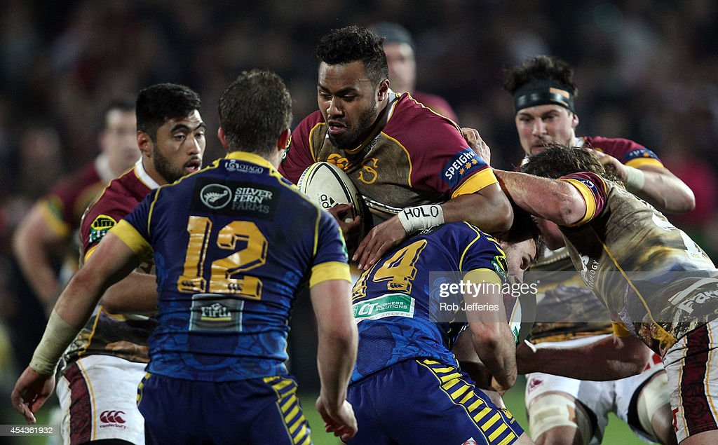 Willis Halaholo of Southland on the charge during the ITM Cup match between Southland and Otago on August 30, 2014 in Invercargill, New Zealand.
