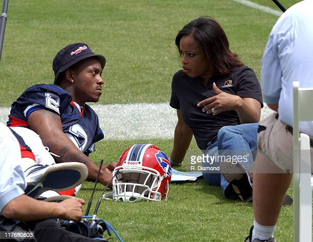 Willis McGahee Bills and Pam Oliver Fox Sports during Reebok NFL Players Rookie Premiere Presented by 989 Sports at LA Coliseum in Los Angeles...
