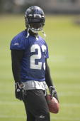 Willis McGahee of the Baltimore Ravens looks on during Ravens mini camp at their practice facility on June 5 2007 in Owings Mills Maryland