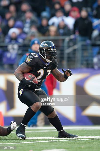 Willis McGahee of the Baltimore Ravens runs the ball against the New Orleans Saints on December 19 2010 at MT Bank Stadium in Baltimore MarylandThe...