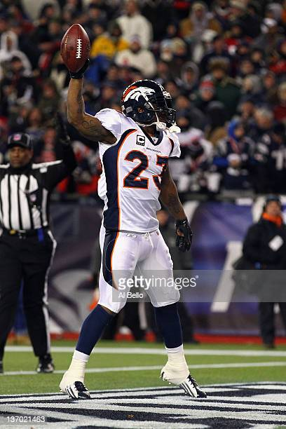 Willis McGahee of the Denver Broncos celebrates after he scored a 5yard rushing touchdown in the second quarter against the New England Patriots...