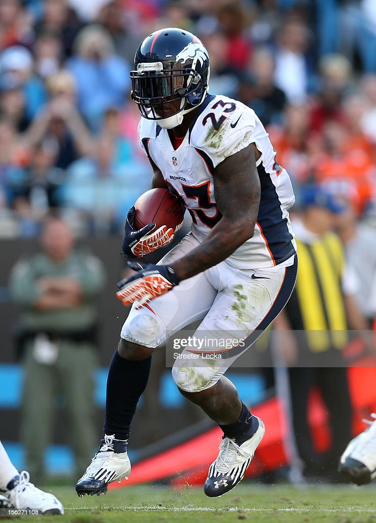 Willis McGahee #23 of the Denver Broncos during their game at Bank of America Stadium on November 11, 2012 in Charlotte, North Carolina.