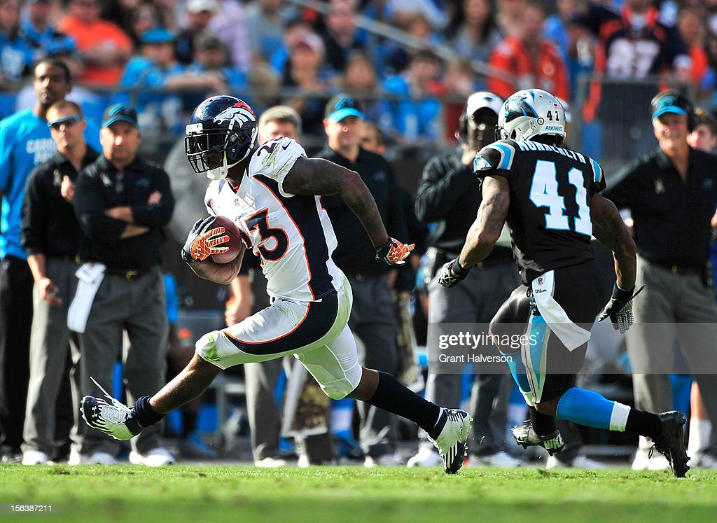 Willis McGahee #23 of the Denver Broncos runs against the Carolina Panthers during play at Bank of America Stadium on November 11, 2012 in Charlotte, North Carolina. The Broncos won 36-14.