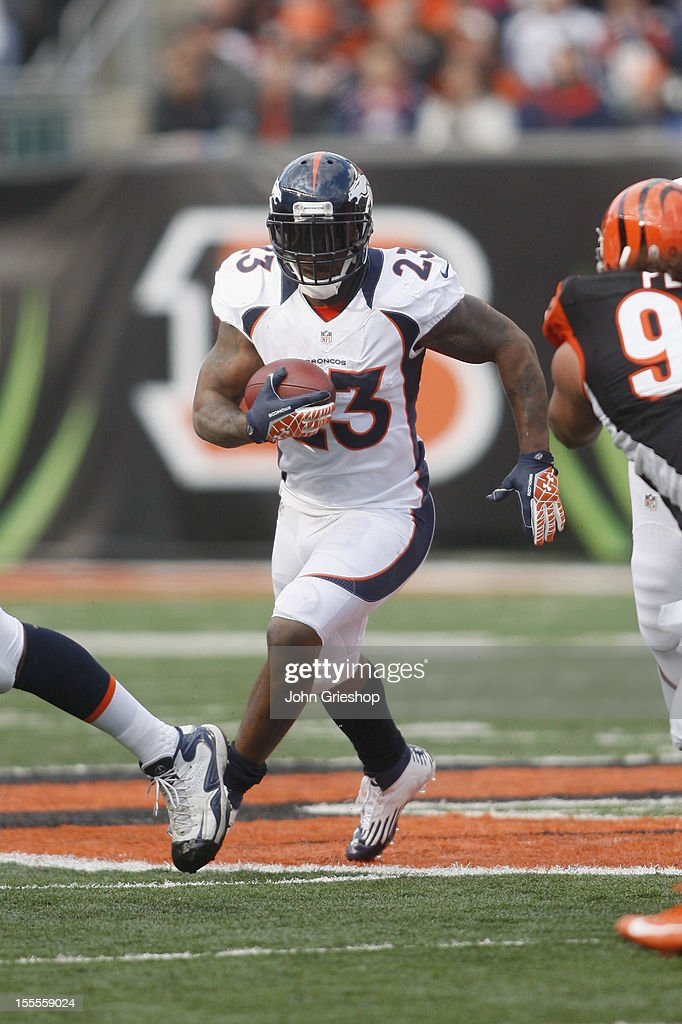 <a gi-track='captionPersonalityLinkClicked' href=/galleries/search?phrase=Willis+McGahee&family=editorial&specificpeople=202895 ng-click='$event.stopPropagation()'>Willis McGahee</a> #23 of the Denver Broncos runs the ball upfield during the game against the Cincinnati Bengals at Paul Brown Stadium on November 4, 2012 in Cincinnati, Ohio. The Broncos defeated the Bengals 31-23.