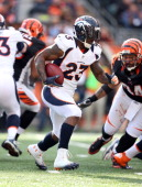 Willis McGahee of the Denver Broncos runs with the ball during the NFL game against the Cincinnati Bengals at Paul Brown Stadium on November 4 2012...