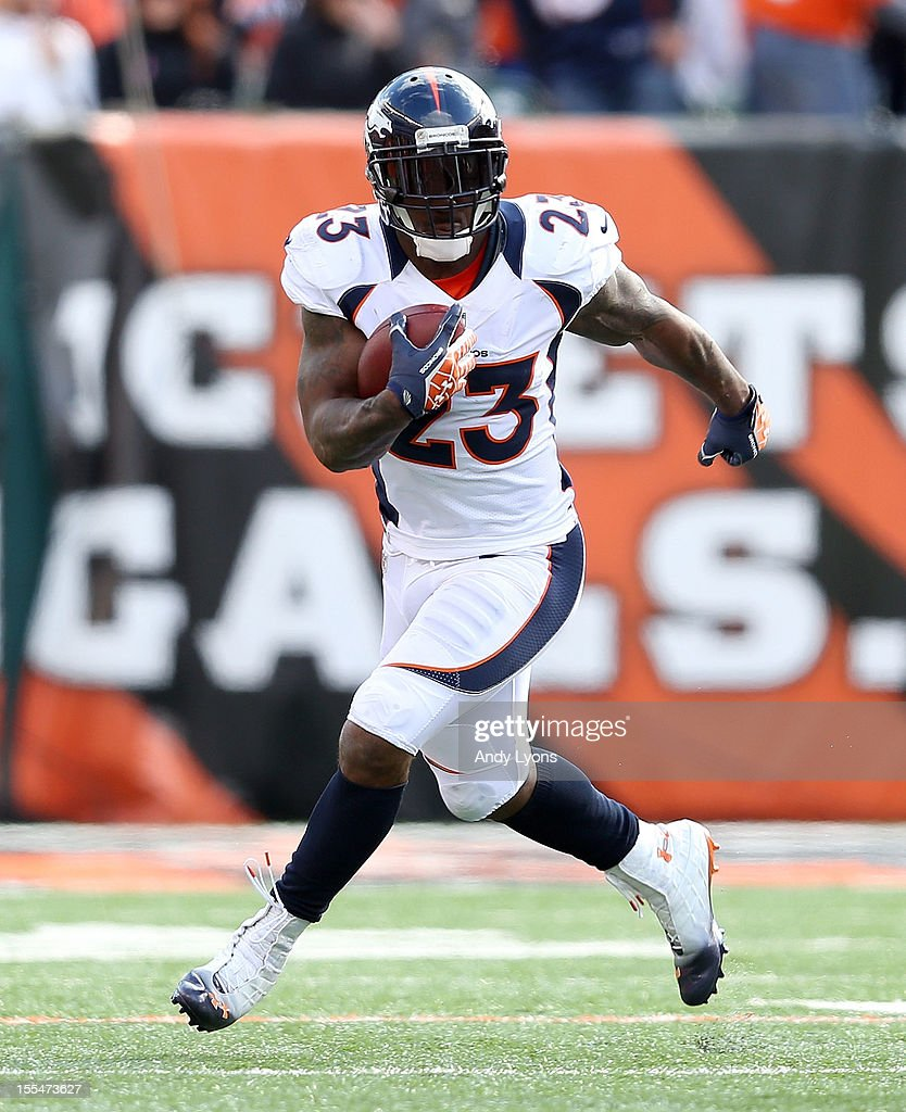 Willis McGahee #23 of the Denver Broncos runs with the ball during the NFL game against the Cincinnati Bengals at Paul Brown Stadium on November 4, 2012 in Cincinnati, Ohio.
