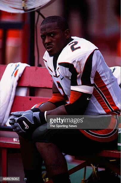 Willis McGahee of the Miami Hurricanes looks on against the Temple Owls on September 14 2002