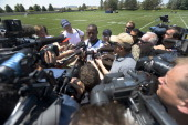 Willis McGahee running back of the Denver Broncos talks with the media after the first day of mini camp June 11 2013 at Dove Valley